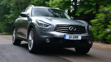 The QX70 is a crossover between a SUV and a coupe.