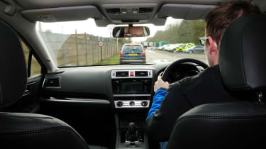 Subaru's EyeSight set-up uses two cameras mounted above the rear view mirror to detect objects ahead. The lenses can even recognise the colour of brake lights to slow the car down earlier.