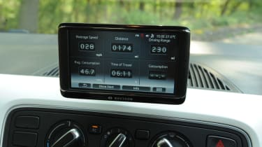 The removable satnav system isn't the slickest to use but the icons are big and easy to hit on the move.