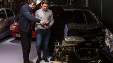 Grampian Transport Museum - James with Davidson looking at Nissan Leaf