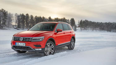 Volkswagen Tiguan snow drive review - front quarter
