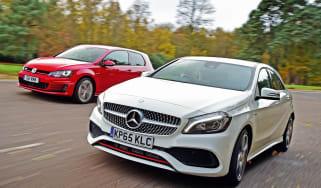 Mercedes A 250 AMG vs Volkswagen Golf GTI - front