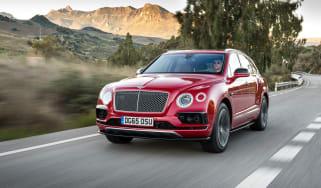 Bentley Bentayga luxury SUV front tracking