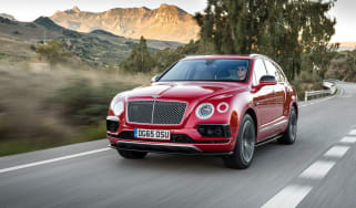 Bentley Bentayga luxury SUV front tracking