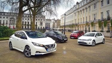 Nissan Leaf vs BMW i3 vs VW e-Golf vs Renault ZOE - header