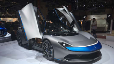 Pininfarina Battista at Geneva Motor Show 2019 grey doors open