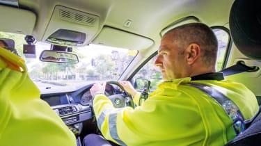 Police car driving interior
