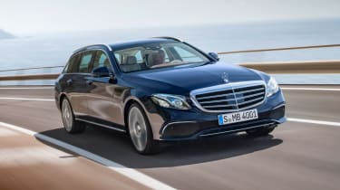 Mercedes E-Class Estate - blue front tracking
