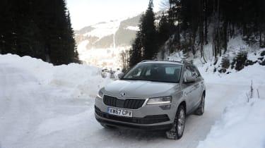 Skoda Karoq road trip - front snow