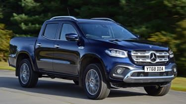 Mercedes x-class tracking front quarter