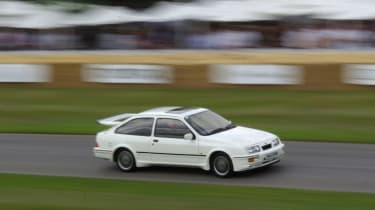This Ford Sierra Cosworth is a cult favourite in Britain, with plenty of cheers as it went up the hill.