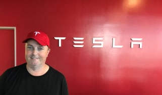 Tesla Factory Tour - steve with sign