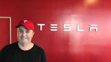 Tesla Factory Tour - steve with sign