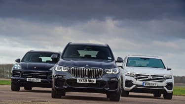 BMW X5 vs Volkswagen Touareg vs Porsche Cayenne - head-to-head