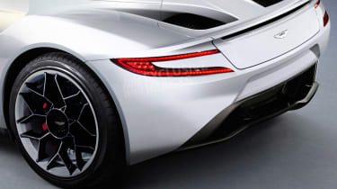 Aston Martin's Tesla Roadster rival - rear detail (watermarked)