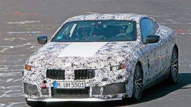 2018 BMW M8 spy shot front quarter