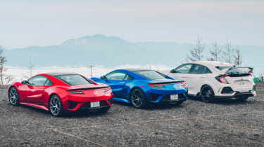 Honda Civic Type R and NSXs Mount Fuji