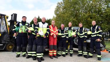 Fire crew road accident preparations team