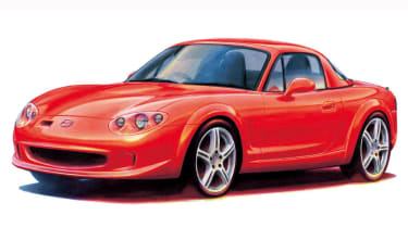 The Mazda Performance Series concept car of 2001 brought racing car technology developed by Mazdaspeed to the MX-5 including adjustable suspension, aluminium brake discs and a 1.9-litre 198bhp powerplant.