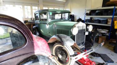 Classic car in garage