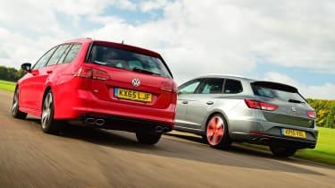 Volkswagen Golf R Estate vs SEAT Leon ST Cupra 280 rear tracking