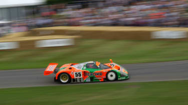 THis Mazda 787B is the star of this year's show, and it has the soundtrack for it with its deafening rotary motor.