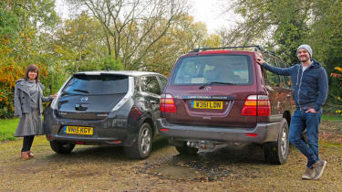 Nissan Leaf feature - Leaf and Land Cruiser 4x4