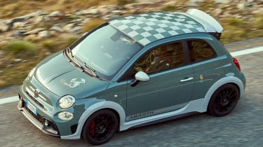 Abarth 695 70th Anniversario - aerial front tracking