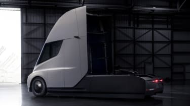 Tesla lorry - electric truck revealed - grey rear quarter