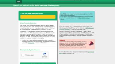 Insurance checking - webpage