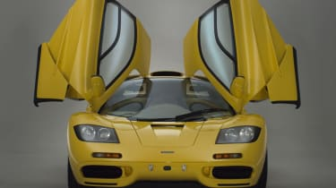 McLaren F1 Yellow front with doors open