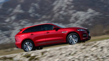Jaguar F-Pace first drive - side tracking 3