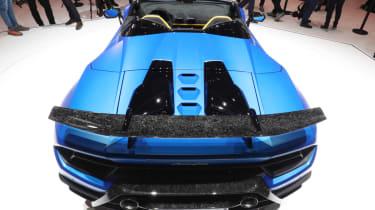 Blue Lamborghini Huracan Performante Spyder rear end