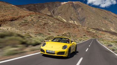 Porsche 911 Carrera S Cabriolet front tracking long