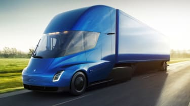 Tesla lorry - electric truck revealed - blue front
