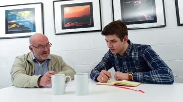 Tim Shallcross and Tristan talking