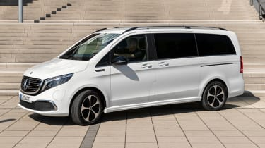 Mercedes claims its new electric luxury passenger van can cover 250 miles on a single charge. And, with a rapid-charging function, the EQV can reach 62 miles of range in just 15 minutes.