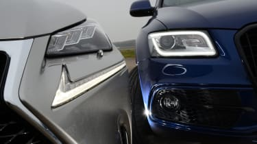 LED lights are standard on the NX, while the Q5 gets xenons with LED daytime running lights. These can be upgraded to adaptive xenons for £330.