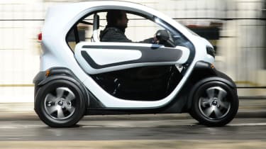 The Renault Twizy has a 17bhp electric motor which gives a top speed of 50mph and a range of up to 62 miles.
