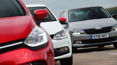 Renault Clio vs Volkswagen Polo vs Skoda Fabia - front detail