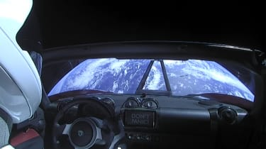 Tesla Roadster in space - interior