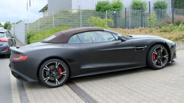 Aston Vanquish Zagato cabrio mule spyshots side rear