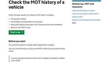 MoT history checking - webpage