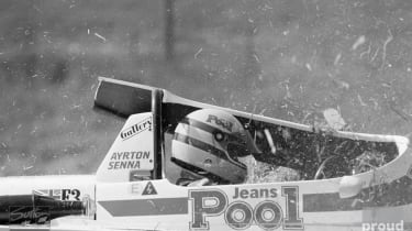 Aryton Senna suffered an accident - British Formula Three Championship 1983
