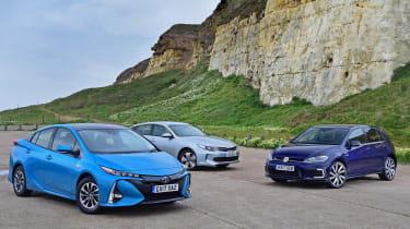 Toyota Prius Plug-in vs Kia Optima PHEV vs Volkswagen Golf GTE - header