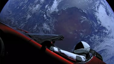 Tesla Roadster in space - Earth
