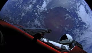 Tesla Roadster in space - Earth