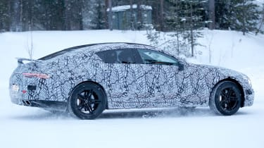 Mercedes AMG GT four door spy shot side rear quarter