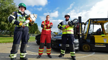 Fire crew road accident preparations