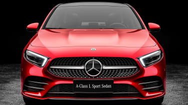 Mercedes A-Class saloon - red full front